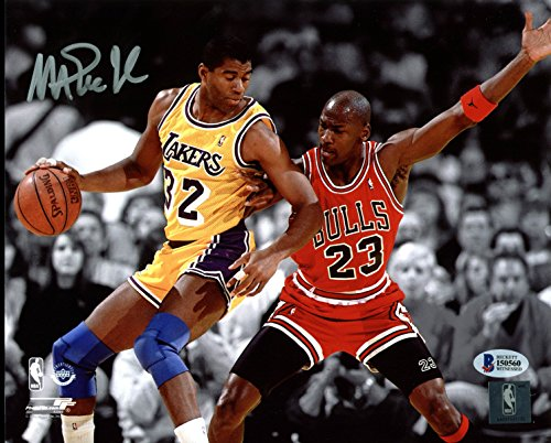 Lakers Magic Johnson Signed 8X10 Spotlight Photo w/ Michael Jordan BAS Witness 4