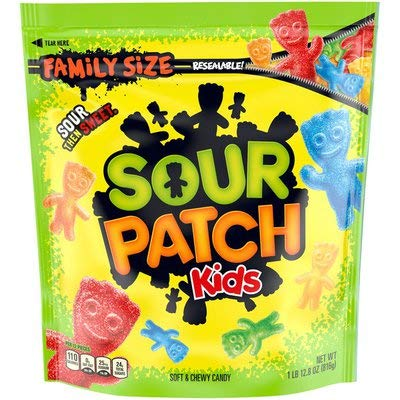 SOUR PATCH KIDS Soft & Chewy Candy, 1.8 Pounds Family Size Resealable Bag - by Tundras