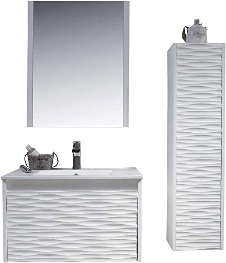 Amazon Com 30 Inch White Bathroom Vanity With Sink All Wood Floating Bathroom Vanity With Sink 30 Inch Mirror 12 Inch Side Cabinet Kitchen Dining