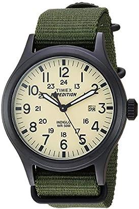 Timex Men's TW4B15500 Expedition Scout 40 Green/Black/Cream Nylon Slip-Thru Strap Watch