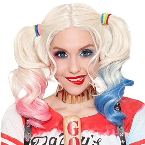 Harley Quinn Wig Suicide Squad Silver with Pink & Blue Pigtails for Kids Carnival Halloween Cosplay Movie Gift Idea Little Girls New Fashion No Lace Fancy Dress Costumes Natural Hair Wig -