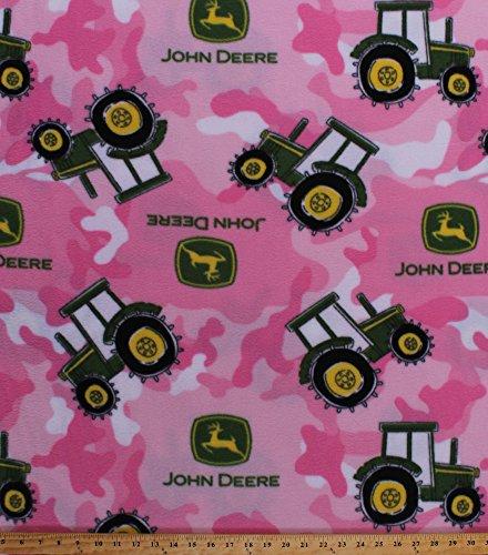 Fleece John Deere Tractor Tractors Logo on Pink Camouflage Camo Fleece Fabric Print by The Yard -