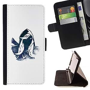 For Sony Xperia M5 E5603 E5606 E5653 Case , Héroe misterioso personaje Azul Blanco Capucha- la tarjeta de Crédito Slots PU Funda de cuero Monedero caso cubierta de piel