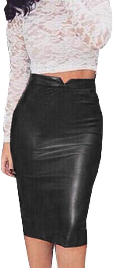 TIFIY Nuevo 2019 Sexy Mujer Falda Cuero Cintura Alta, Falda de ...