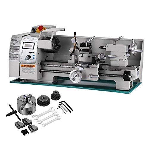 BestEquip Maintenance Free Metal Lathe Variable Spindle Speed Lathe 8x16 Inch Mini Bench Lathe 750W High Precision Lathe Machine