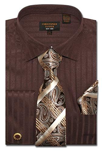 Christopher Tanner Men's Regular Fit Dress Shirts with Tie Hanky Cufflinks Combo Striped and Herringbone Pattern Brown