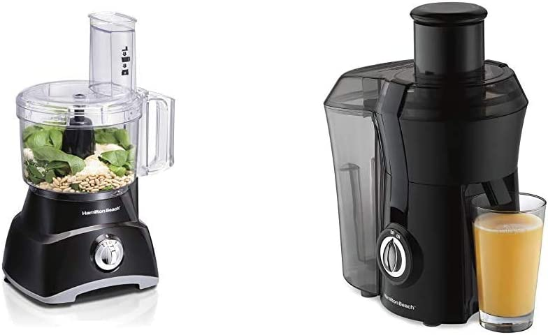 "Hamilton Beach 8-Cup Compact Food Processor & Vegetable Chopper (70740) & Juicer Machine, Big Mouth 3"" Feed Chute, Centrifugal, Easy to Clean, BPA Free, 800W, (67601A), Black"