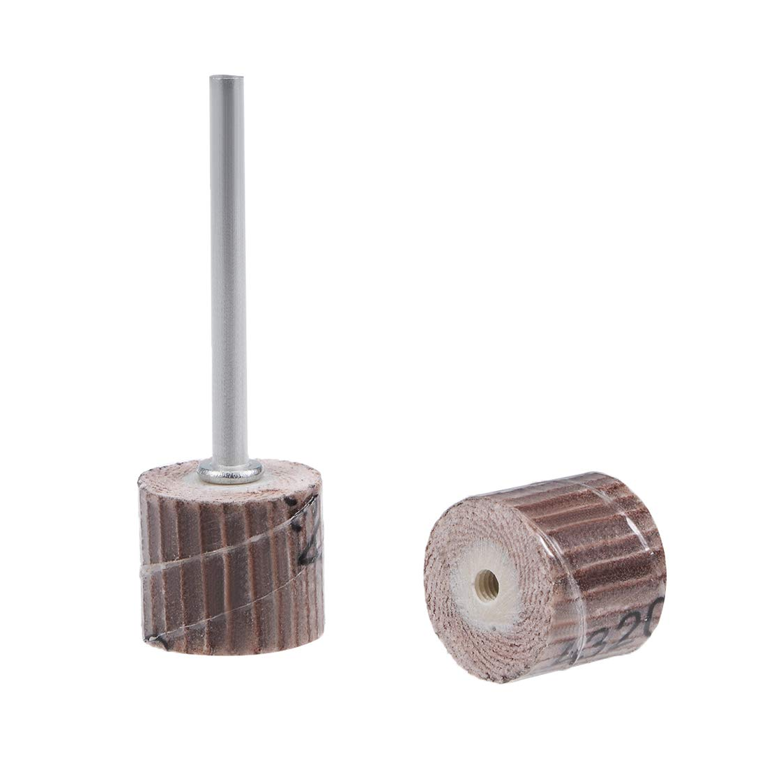 uxcell 2 Pcs 12x12mm Flap Wheel 320 Grits Abrasive Grinding Head with 1/8'' Shank for Rotary Tool