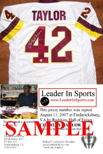 (Charley Taylor Autographed White Jersey - Washington Redskins - NFL Hall of Fame Inscription)