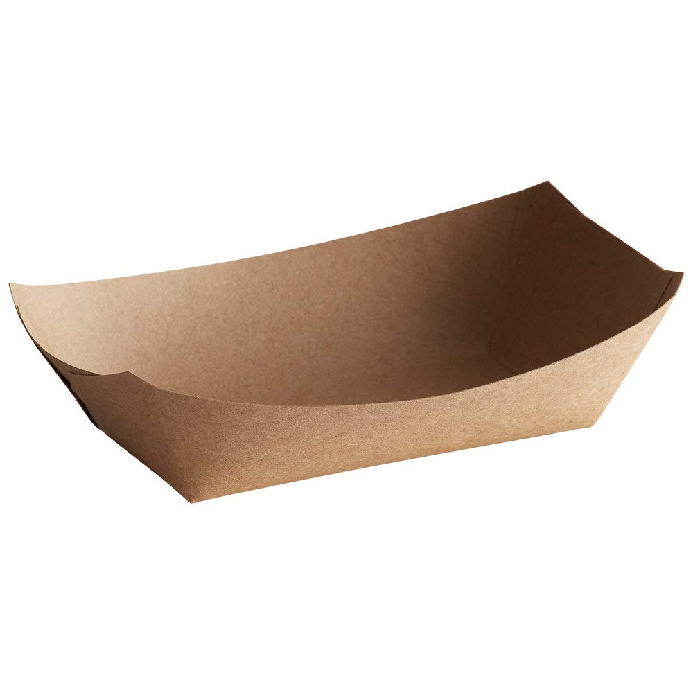 Lightweight Disposable Paper Food Tray – 1Lb Eco Friendly Versatile Brown Color – Great for Serving Fried Food, Fruits Veggies – Serving Boats for Concession Food & Condiments Paperboard