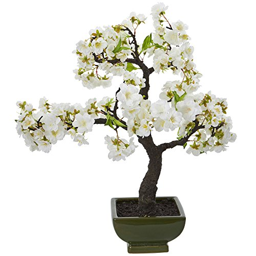 Nearly Natural Cherry Blossom Bonsai Artificial Tree, White by Nearly Natural