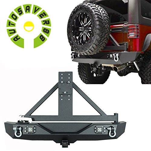 AUTOSAVER88-Black-Textured-Off-Road-Rear-Bumper-with-Tire-Carrier-20W-LED-Light-for-07-16-Jeep-Wrangler
