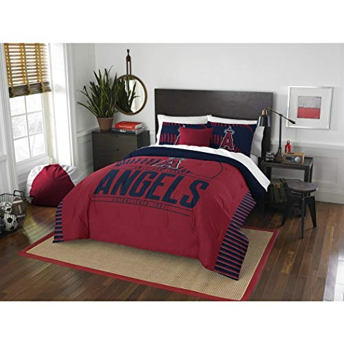 - 3 Piece MLB Angels Comforter Full Queen Set, Baseball Themed Bedding Sports Patterned, Team Logo Fan Merchandise Athletic Team Spirit Fan, Red Navy Blue, Polyester