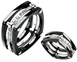 Unique Titanium Ring Wedding Band with Nine Stones Size 10 - Black Knight