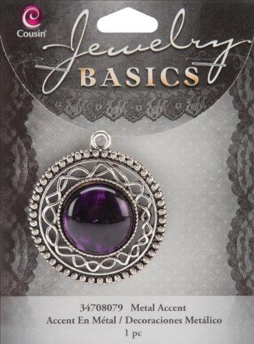 Cousin Jewelry Basics 1-Piece Round Filigree Accent, Silver/Purple