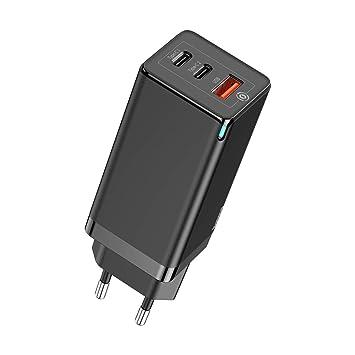 Baseus 65W USB C Cargador con GaN Tech, 3 puertos PD Cargador ...