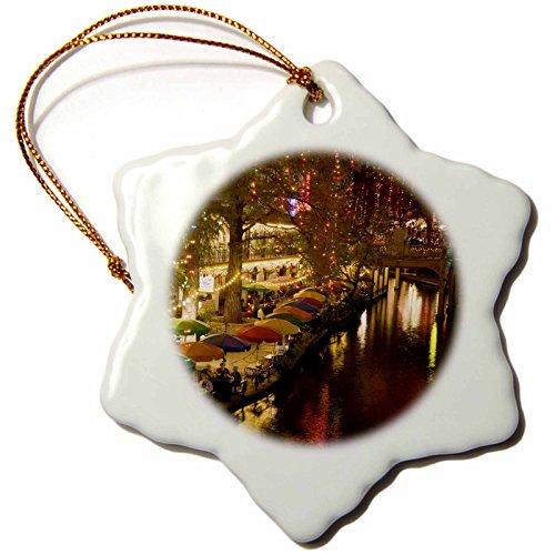 3dRose orn_94613_1 USA, TEXAS, San Antonio Riverwalk Area/Evening-US44 WBI0260-Walter Bibikow-Snowflake Ornament, Porcelain, - Antonio San Shopping Riverwalk
