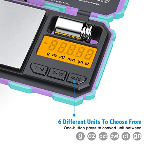(Newest Version) Digital Pocket Scale, 200g Max High Precision Mini Scale, Highly Accurate Multifunction with Premium Stainless Steel Finish, LCD Backlit Display (Battery Included)