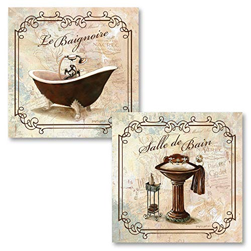 Classic French Clawfoot Bathtub and Pedestal Sink Salle De Bain and Le Baignoire by Gregory Gorham- 2-12x12