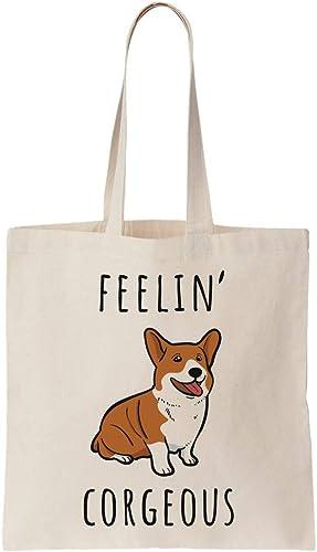 graphke Feelin Corgous Dog Corgi Specie Artwork Canvas Tote Bag Sac Fourre Tout en Toile