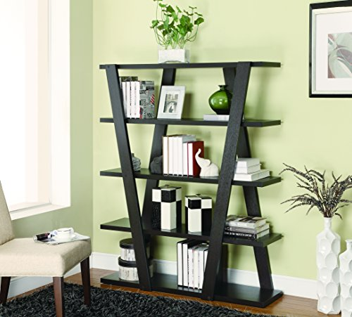 Bookcase with Inverted Supports and Open Shelves Cappuccino