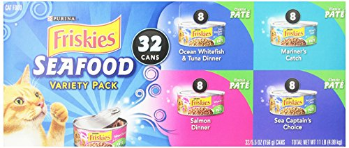 Friskies Wet Cat Food Classic Pate Seafood 4-Flavor Variety Pack 5.5-Ounce Can Pack of 32