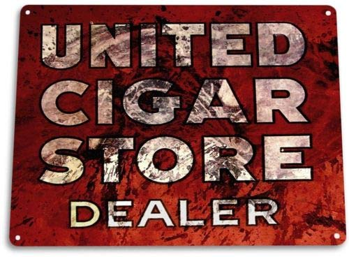 - TIN Sign United Cigar Store Shop Parlor Bar Rustic Retro Cigar Sign Decor