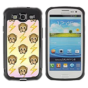 Fuerte Suave TPU GEL Caso Carcasa de Protección Funda para Samsung Galaxy S3 I9300 / Business Style monkey back electricity jolt pattern