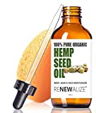 Organic HEMP SEED OIL Facial Moisturizer by Renewalize in LARGE 4 OZ. DARK GLASS BOTTLE | 100% Pure Cold Pressed and Unrefined | Best Daily Skin Moisturizer for Acne Prone Skin , Will Not Clog Pores