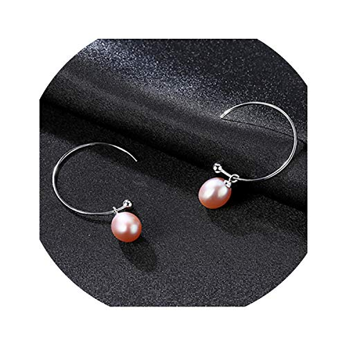 Big Half Circle Earwire 925 Sterling Silver Drop Earring For Women,purple-FE0170-03F04