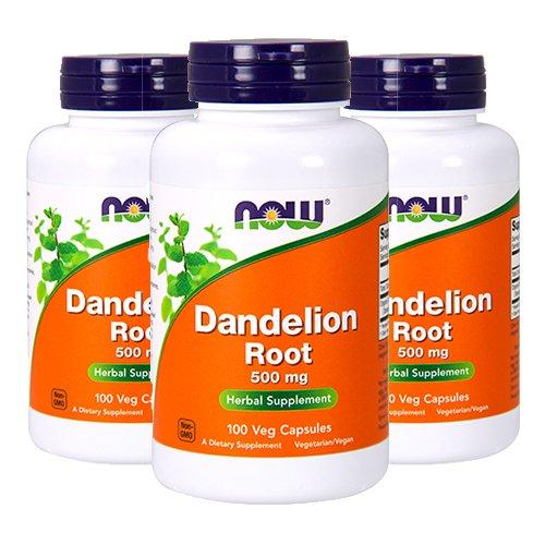 Dandelion Root Capsules - Now Dandelion Root 500mg, 100 Capsules (Pack of 3)
