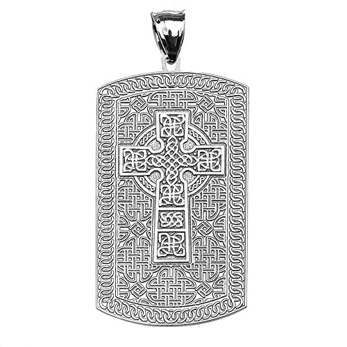 Religious Jewelry by FDJ Celtic Cross Trinity Knot 14k White Gold Engraveable Dog Tag Pendant