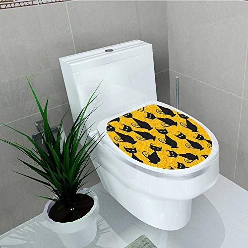 Philip C. Williams Decal Wall Art Decor Black Cat Halloween On Orange Background Celebration Gift Graphic Black Orange Bathroom Creative Toilet Cover Stickers W6 x -