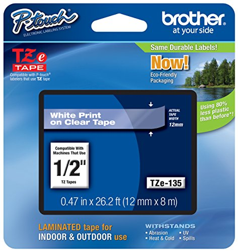 "2/Pack Genuine Brother 1/2"" (12mm) White on Clear TZe P-touch Tape for Brother PT-1280, PT1280 Label Maker for cheap"