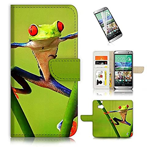 Hot Sale HTC One M8 Flip Wallet Case Cover & Screen Protector Bundle! AC0158 Frog 0158 (Htc One M8 Case Frog)