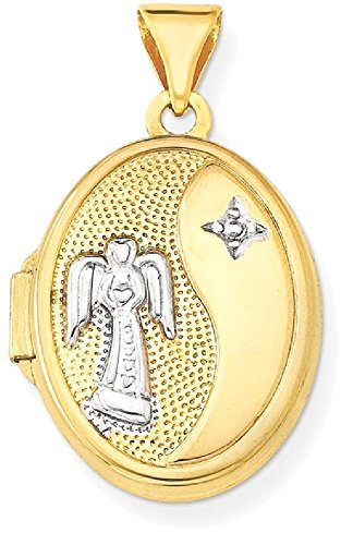 ICE CARATS 14k Yellow Gold 17mm Guardian Angel Oval Photo Pendant Charm Locket Chain Necklace That Holds Pictures by ICE CARATS
