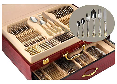 Venezia Collection Gold Flatware Serving Set for 12, 75-Pc Luxury Dining Silverware Cutlery Service, 24 Kt 18/10 Premium Surgical Stainless Steel Hostess Set in a Wooden Storage Case Chest