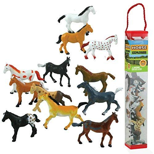 WowToyz Animal Explorer - Horses Tube Playset - 12 Piece ()