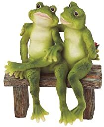 George S. Chen Imports SS-G-61040 2 Frogs on Bench Garden Decoration Collectible Figurine Statue Model