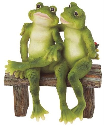 George S. Chen Imports SS-G-61040 2 Frogs on Bench Garden Decoration Collectible Figurine Statue (Garden Figurine Statue)