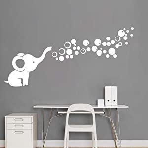 Removable Nursery Room Wall Decor Cute Elephant Blowing Bubbles Wall Decal Art Vinyl Wall Decor Sticker for Baby Bedroom (White)