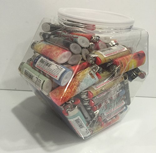 100 BIC Full Size Limited Special Edition Disposable Lighters Assorted Styles with Tub