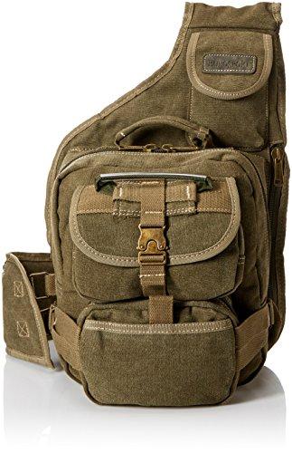 Eurosport Canvas Urban Sling Crossbody Backpack Bag (Olive) (Eurosport Canvas Backpack)