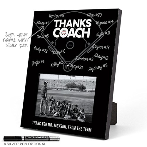 ChalkTalkSPORTS Personalized Baseball Photo Frame | Coach (Autograph) Picture Frame | Black (Thanks Baseball Coach)
