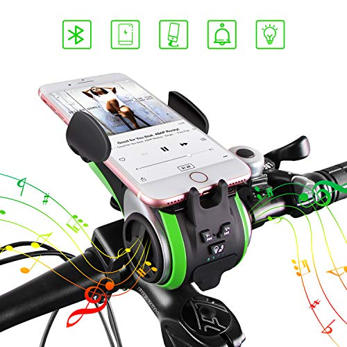 UPPEL Bike Bluetooth Speakers, Portable Wireless Bluetooth Speaker+Bike Light+ Power Bank+Bicycle Bell+ Bike Cell Phone Mount Hands Free Calling Waterproof Outdoor Speakers Support TF Card 10-in-1 ()