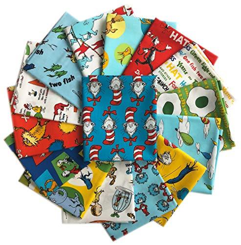 Rare OOP 15 DR. Seuss Fat Quarters Robert Kaufman Precut Fabric Cotton Quilting FQs Assortment Dr Seuss