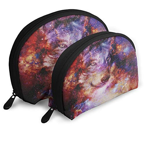 Makeup Bag Magical Galaxy Wolf Multicolor Portable Half Moon Travel Bags Storage For ()