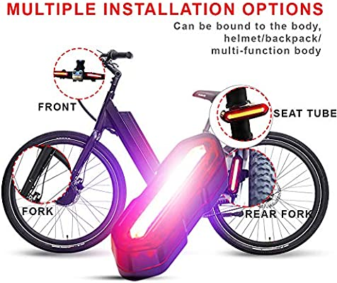 Amicool Luz Trasera de Bicicleta Recargable por USB Potente 6 Modos de luz LED s/úper Brillante luz Trasera para Bicicleta y f/ácil instalaci/ón para Cualquier Bicicleta de monta/ña y Carretera