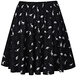 Fancyqube Women's Elastic Waist Cute Dinosaur Print Flared Mini Skirt Black XXL