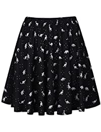 Women's Retro Pleated Floral Print Skirt